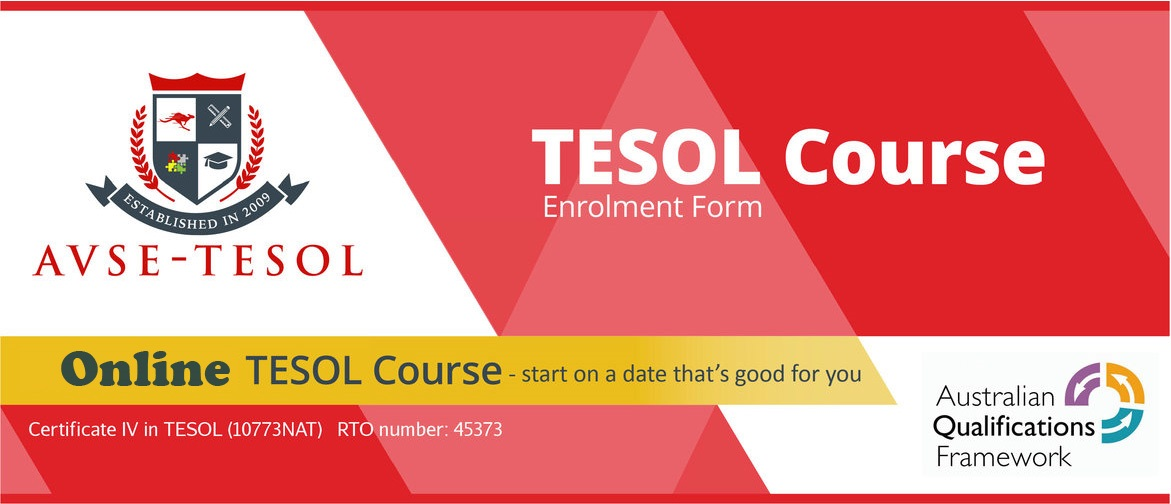 Online TESOL course enrolment form header
